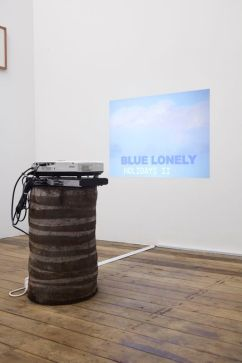 Blue Lonely Holidays II, 2012, installation view, palm tree trunk and video projection, dimensions variable