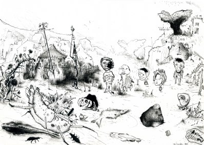 Fatal Shore, 1999, ink on paper, 29.7 x 21 cm